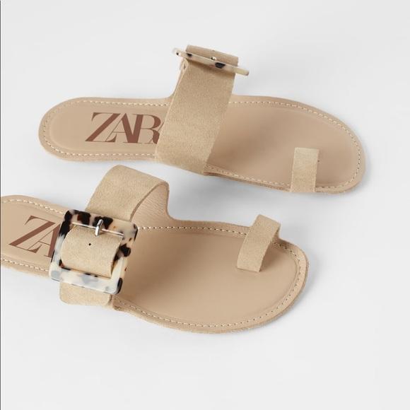 NWT Zara Leather Flat Sandals Tortoiseshell Buckle